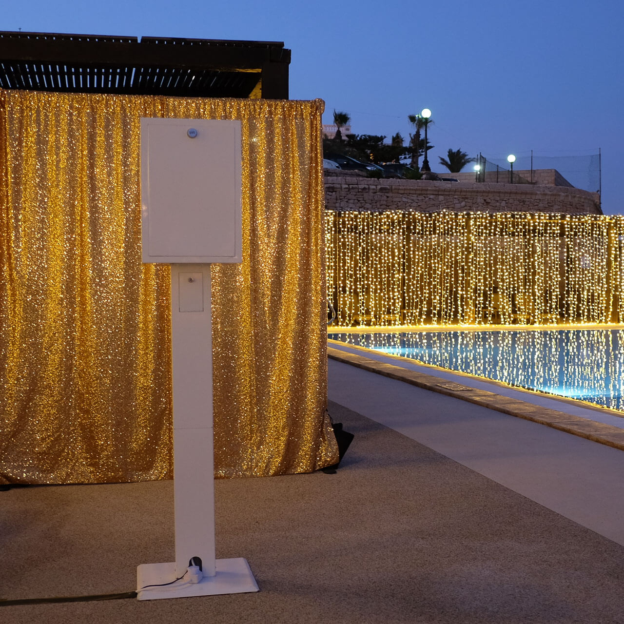 photo booth set up by the pool